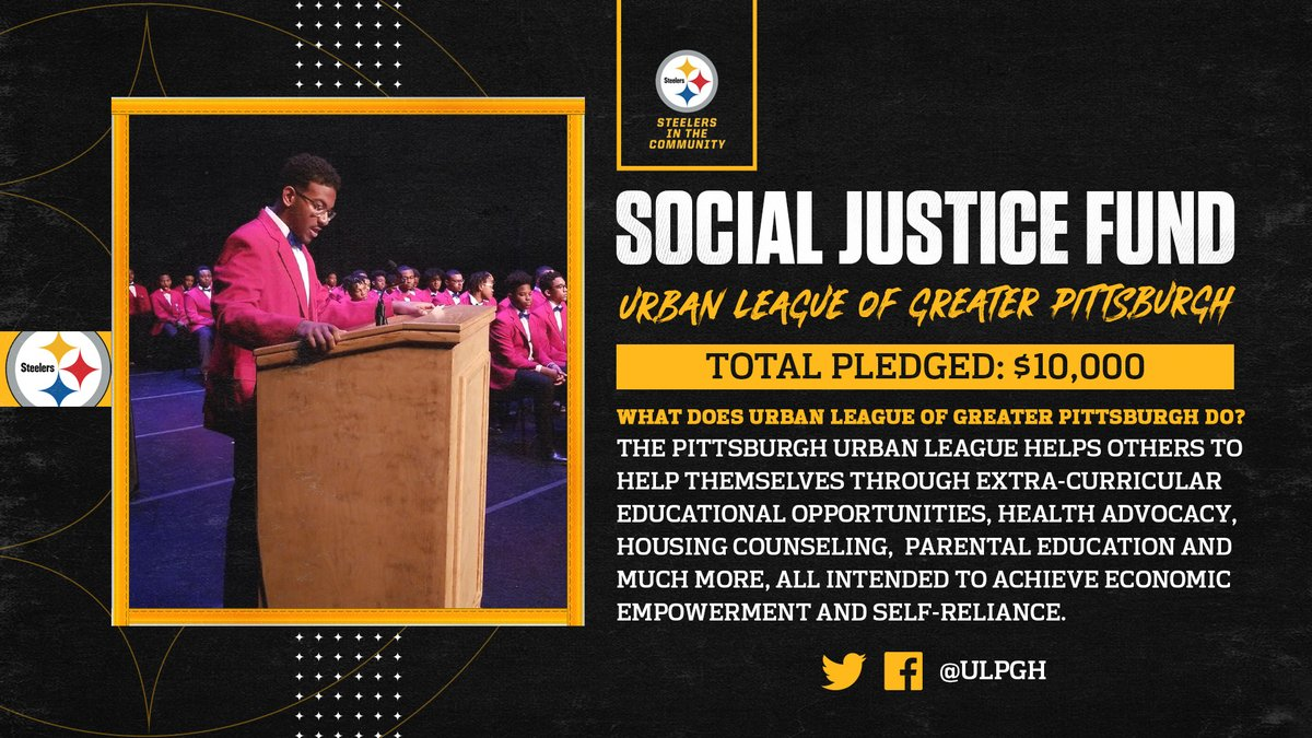 The @steelers have announced a donation to @ulpgh from @AWilliamson54 with a matching contribution by the team as part of the #Steelers' Social Justice Grant program to help support community efforts.  📝: