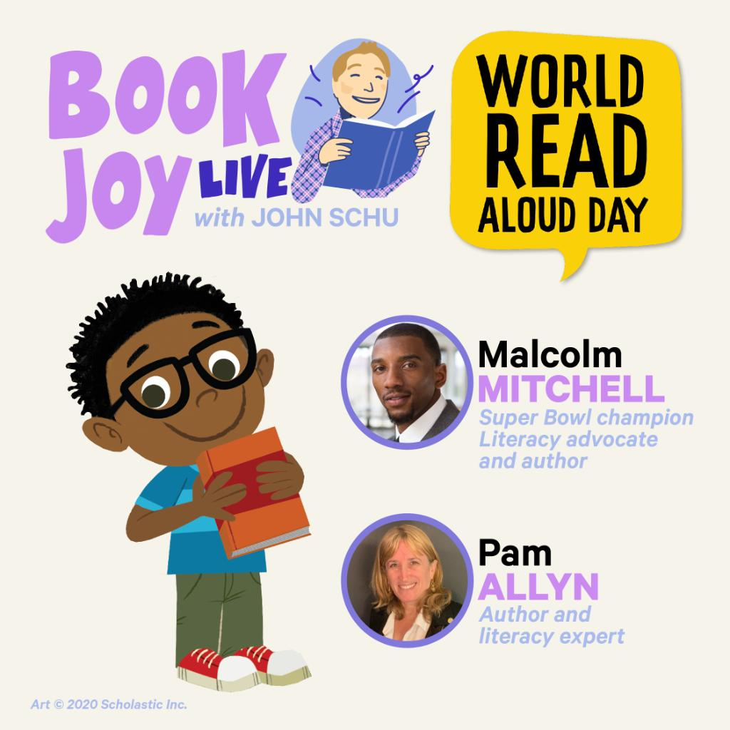 Join us for #BookJoyLive with @MrSchuReads as he discusses #WorldReadAloudDay, stories, school libraries, and more with @pamallyn and @MalcolmJarod. Head to the Scholastic Book Fairs Facebook Page at 4pm ET:
