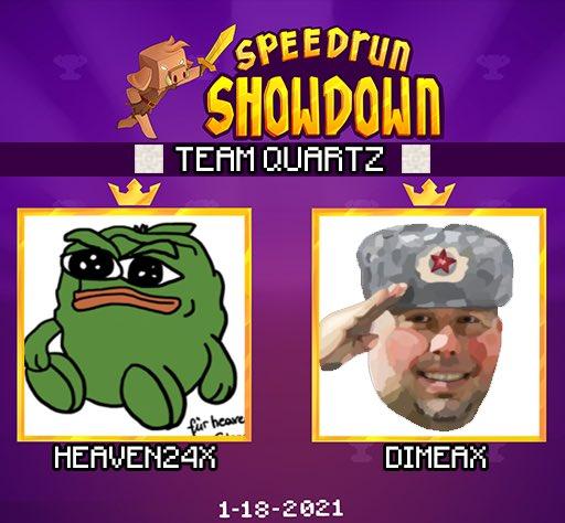 nerdi_tv - ANNOUNCING the next duo for Minecraft Speedrun Showdown: Team Quartz featuring @Heaven24x1 & @Dimeax_ !