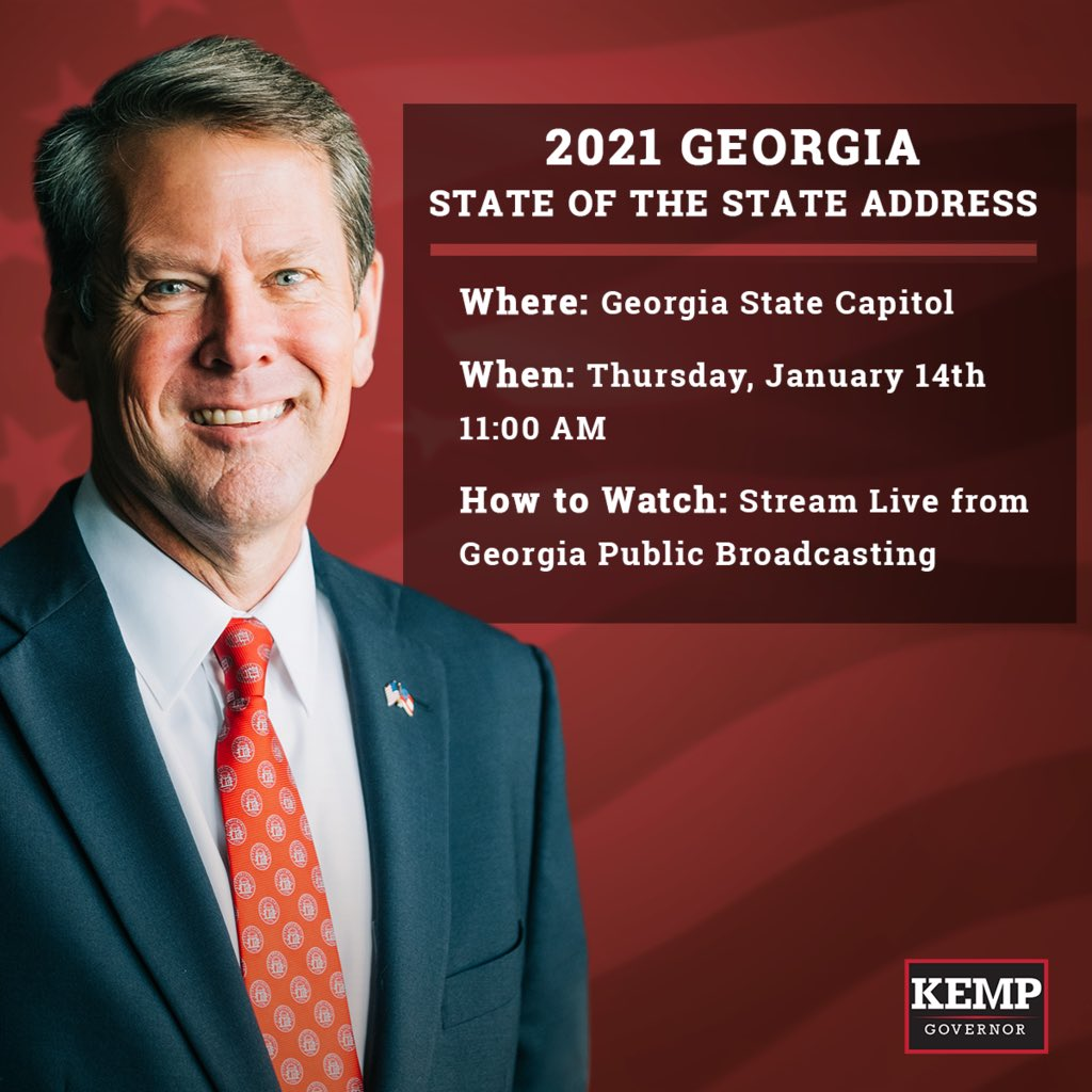 📺 Be sure to tune in LIVE to watch Governor Kemp's annual State of the State address! Georgia Public Broadcasting will have it on their website, just click here to watch >>  #gapol