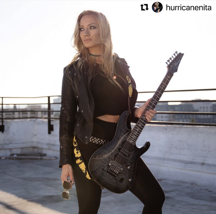 #Repost from @hurricanenita rocking out the New Year with the #Levys Nita Strauss Signature Strap! #PlayOn