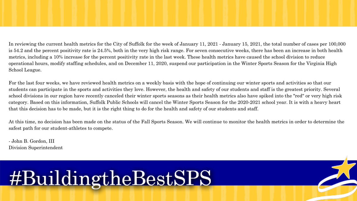 Please see the message below from the Superintendent regarding the Winter Sports Season. #BuildingtheBestSPS