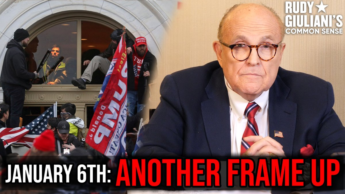 🚨January 6th: ANOTHER FRAME UP   The latest episode of Rudy Giuliani's Common Sense podcast takes you through the VIDEO EVIDENCE culminating in a fatal shooting on Jan 6.  Watch now on Rumble, HERE: