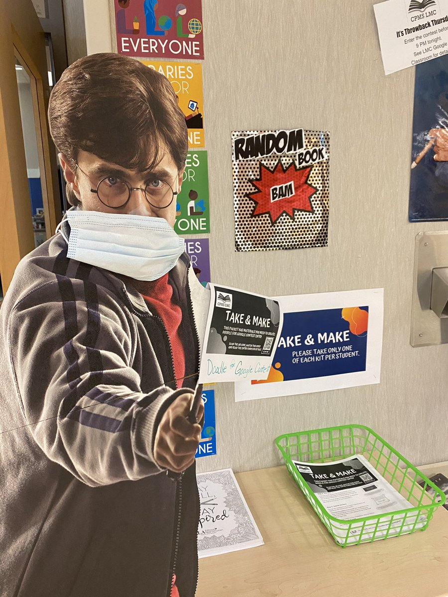 Just Harry Potter here pointing out the new Take & Make kits you can find outside the LMC doors. #doodleforgoogle