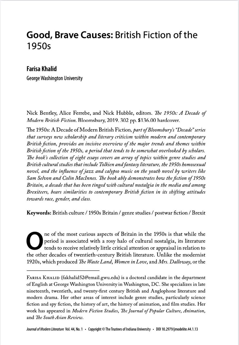 I reviewed 'The 1950s: A Decade in Modern British Fiction' for The Journal of Modern Literature. I specialize in this period, so this was a treat. Talked about J.R.R. Tolkien, Sam Selvon, and Brexit. jstor.org/stable/10.2979… @BloomsburyAcad @BloomsburyBooks @IUPJournals @JSTOR