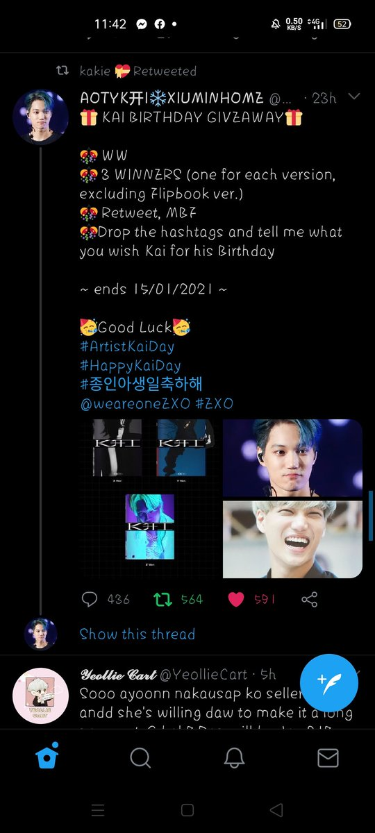 @xaqonyx @justexonine1485 @weareoneEXO Thank you so much for hosting this GA and wish me luck po 🥺🙏💖 Happy birthday Kai, I wish that you'll be forever happy and more solo's to come stay safe and healthy #ArtistKaiDay  #HappyKaiDay  #종인아생일축하해 #가장_따뜻한_겨울_카이데이  @weareoneEXO
