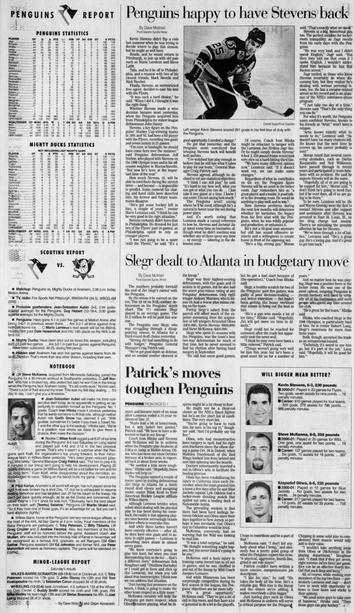 20 years ago (1/14/01): #Penguins add size with trades. #LetsGoPens