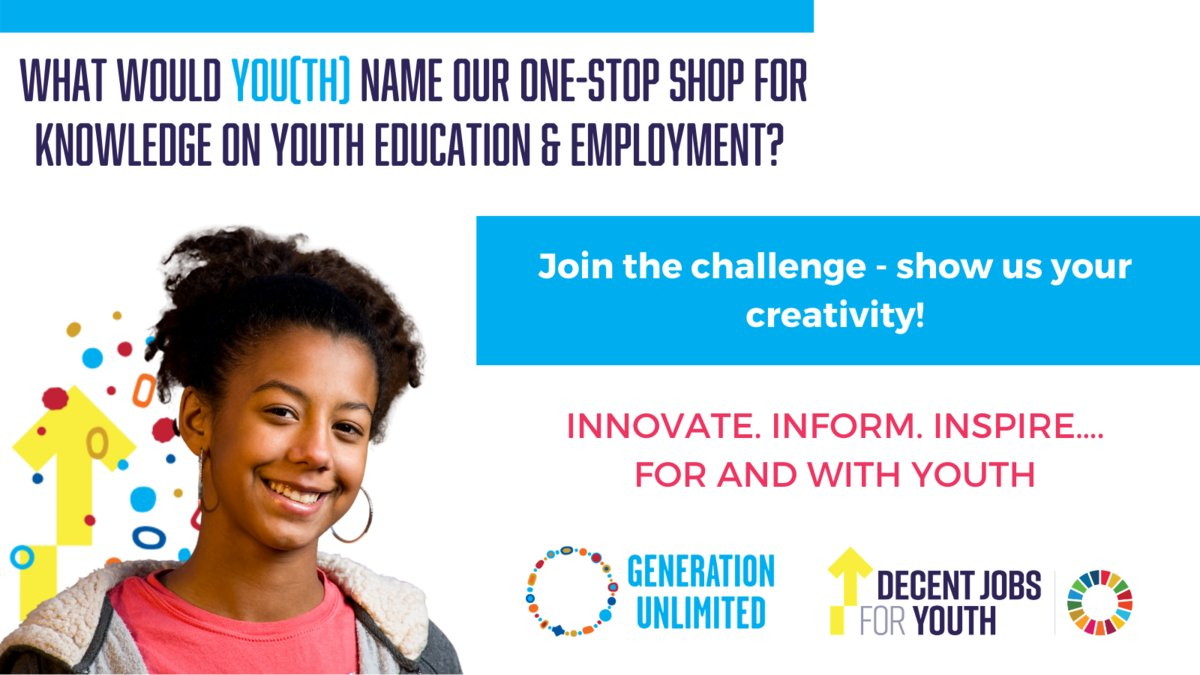 🗣️CALLING ALL YOUNG PEOPLE!   Get your thinking caps on - help @DecentJobsYouth & @_GenUnlimited name our brand new joint knowledge platform with resources on youth education, skilling, entrepreneurship, employment and engagement. Join the challenge now!