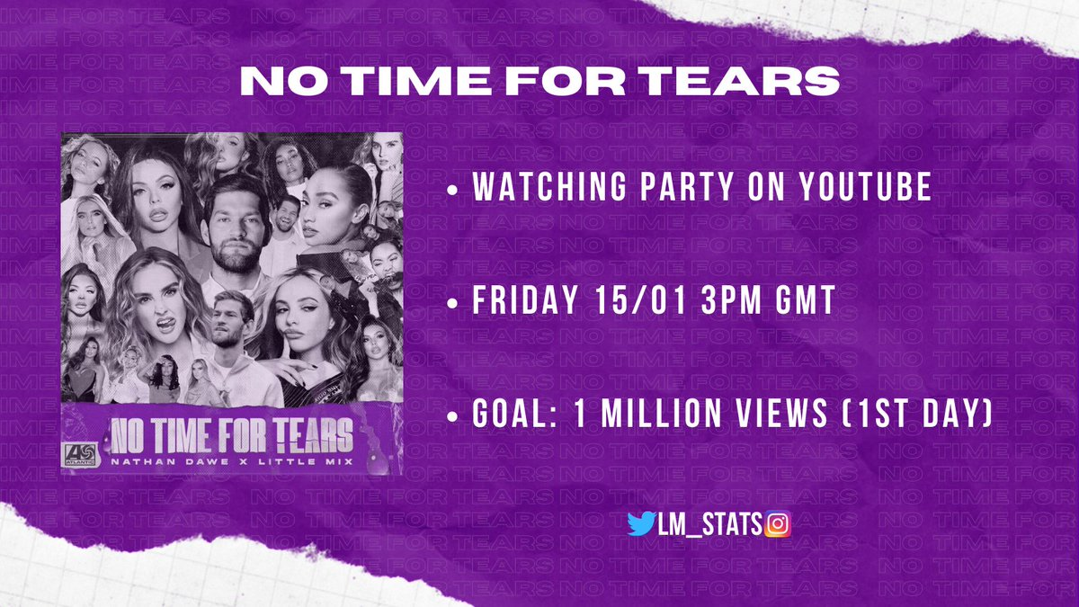 Mixers, we are hosting a watching party tomorrow for the release of the #NoTimeForTears MV!!  Please join us at 3PM GMT to help us reach the goal of 1M daily views. See you there!! @LittleMix @NathanDawe