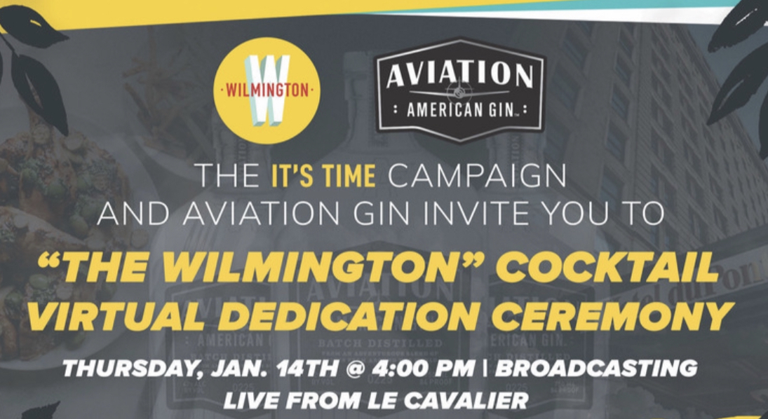 "Join the It's Time team and @AviationGin LIVE TODAY at 4 pm for our Virtual Dedication Ceremony of ""The Wilmington"".  View our Facebook Live event to tune in. Who do you think our winners will be? Comment below!  #ItsTimeWilmDE #InWilm #AviationGin #WilmLove #WilmingtonDE"