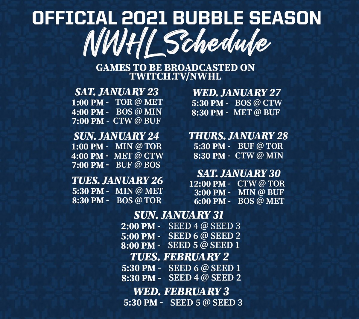 MARK YOUR CALENDARS 🗓  Your 2021 NWHL season and post-season schedule is here!  📰: