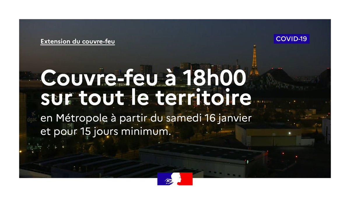 #COVID19 | À partir du samedi 16 janvier, le #CouvreFeu est avancé à 18h00 en France métropolitaine pour 15 jours minimum.  Pour en savoir plus :