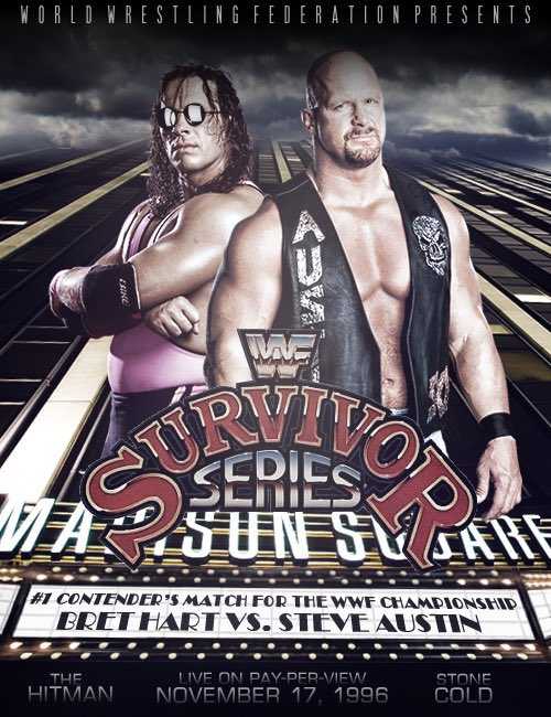 So my #MondayNightWars rewatch has brought me to November 96, and it's PPV time - Might well be the first time I've seen this match properly but goddamn, that Bret Hart vs 'Stone Cold' Steve Austin match was incredible. What a ride the next few months will be. #SurvivorSeries96