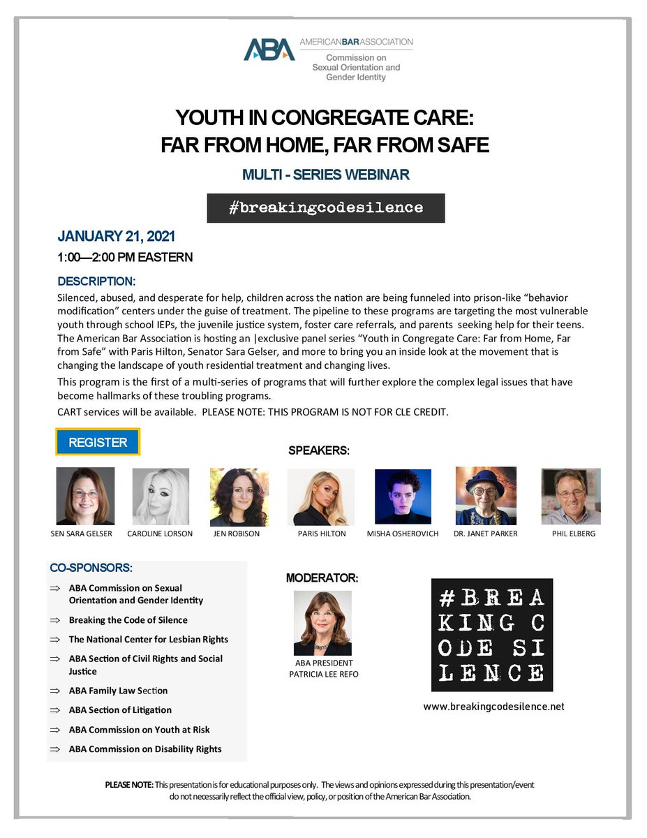 Sign up today for this Jan 21 webinar! Moderated by @ABAPresident , with special guests @SenSaraGelser , @ParisHilton, and more! @SOGI_Commission @NCLRights @ABA_CRSJ @ABAFamily @ABADisability @ABALitigation @ABAYouthAtRisk #breakingcodesilence  Register: