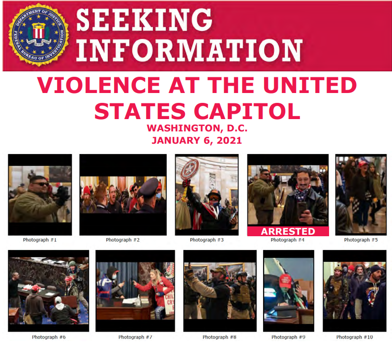 The #FBI and our partners have arrested multiple people who unlawfully entered the U.S. Capitol last week, but still need the public to help us ID individuals. If you know someone on one of these posters, submit a tip at fbi.gov/USCapitol. ow.ly/axuh50D8BGL