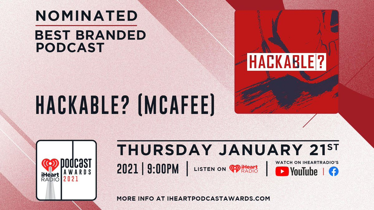 Let the internet know how much you love ❤️️ Hackable? by tweeting out the following: #HACKABLE #PODCASTOFTHEYEAR #IHEARTPODCASTAWARDS to cast your vote!