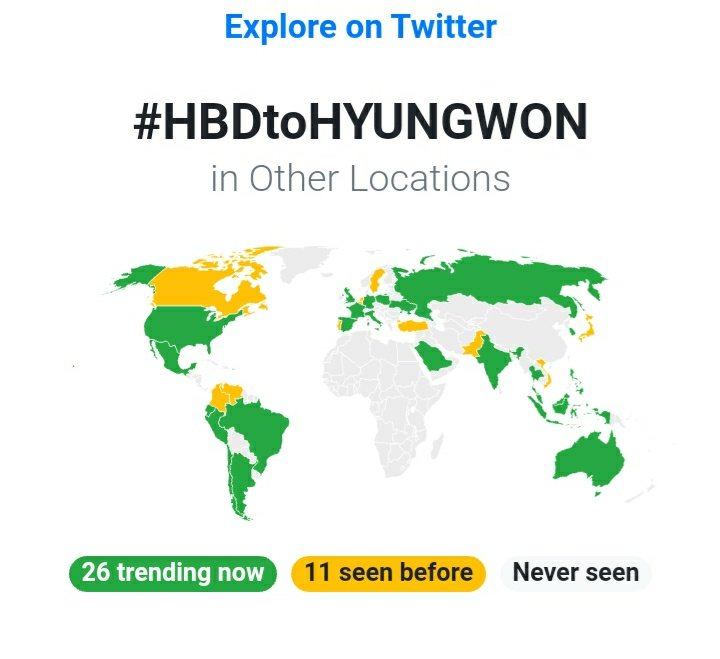 #️⃣ Worldwide Trends:  1 #HBDtoHYUNGWON Trending in 26 countries  3 #형원이란_다정함이_내린_날 Trending in 23 countries  @OfficialMonstaX