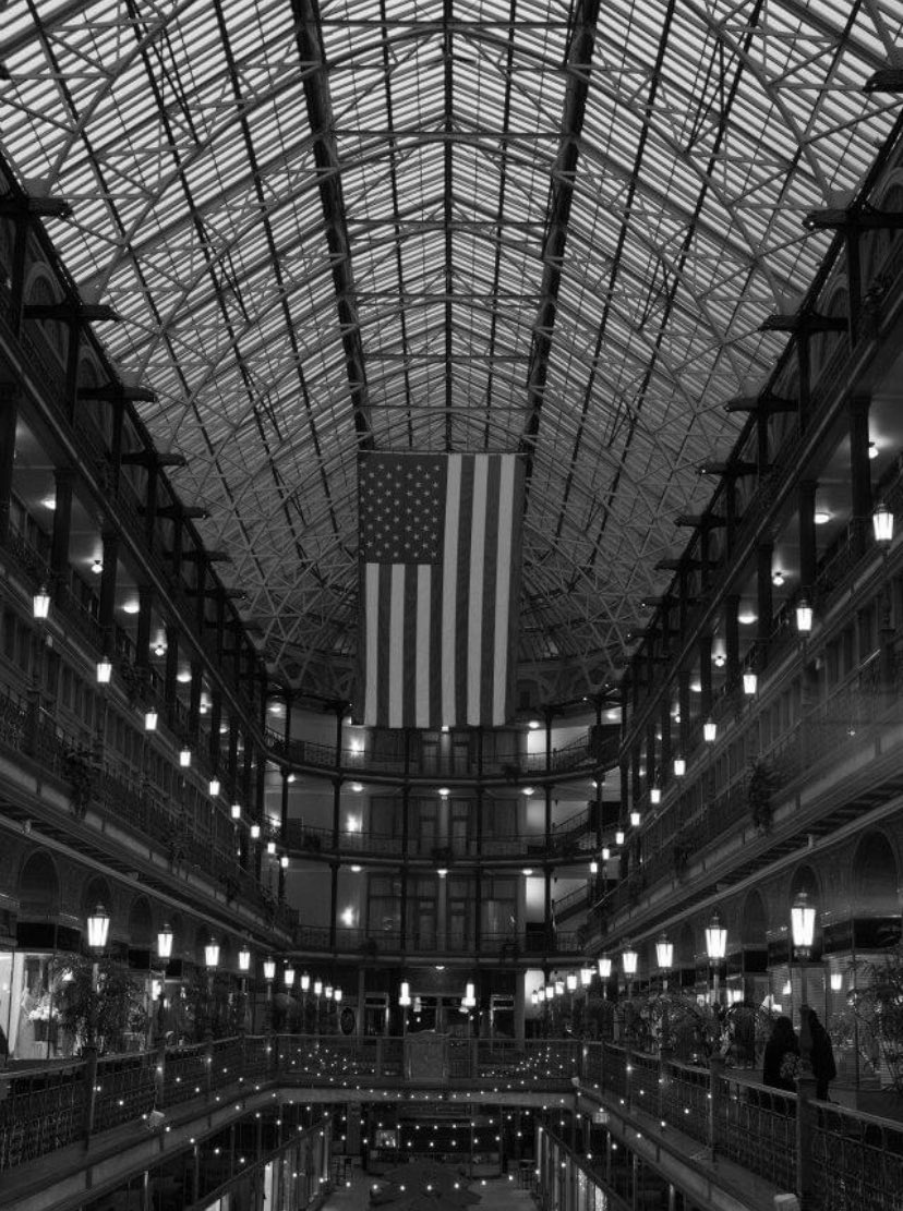 The Arcade - January 14, 2012 #thisiscle #theland #blackandwhite #americanflag