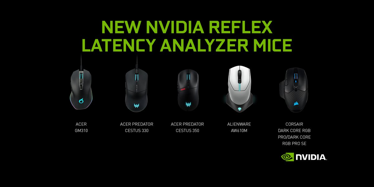 Announcing the addition of NVIDIA Reflex compatibility coming to mice from multiple manufacturers including  🖱️ Acer 🖱️ Alienware 🖱️ Corsair  #FramesWinGames 👉