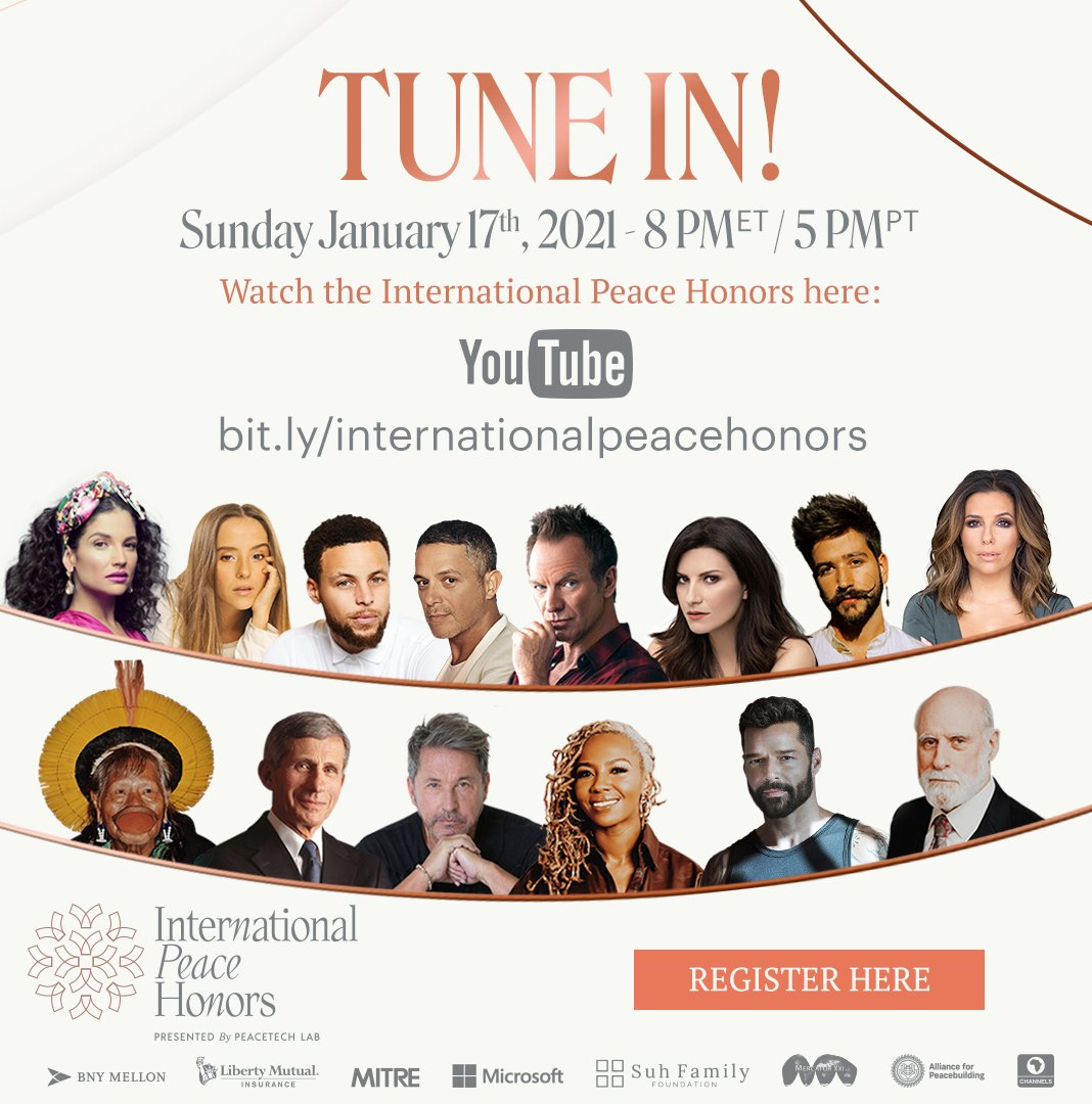We are a few days away from the @IntlPeaceHonors, this January 17, where we will celebrate global leaders such as @opalayo, @ricky_martin, @InstitutoRaoni, #DrFauci, @vgcerf and @montanertwiter! Register to watch for FREE: