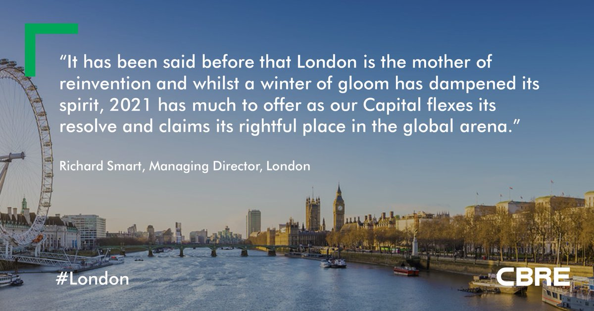 #2021 will herald a new chapter for #UKRealEstate, but what challenges will our capital city face? Richard Smart, Managing Director, London, reveals why #London will be getting a shot in the arm in 2021, in his most recent blog: https://t.co/FlmgOj3B5F #2021Outlook https://t.co/qcO9Tm8cf5