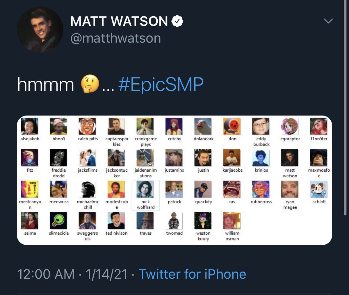 🚨 Finn Wolfhard has joined YouTuber Matt Watson's (from SuperMega) Minecraft SMP server, Epic SMP #EpicSMP   The first stream is this Saturday, Jan 16 at 1 PM PST / 4 PM EST. No word on if Finn will participate this weekend: