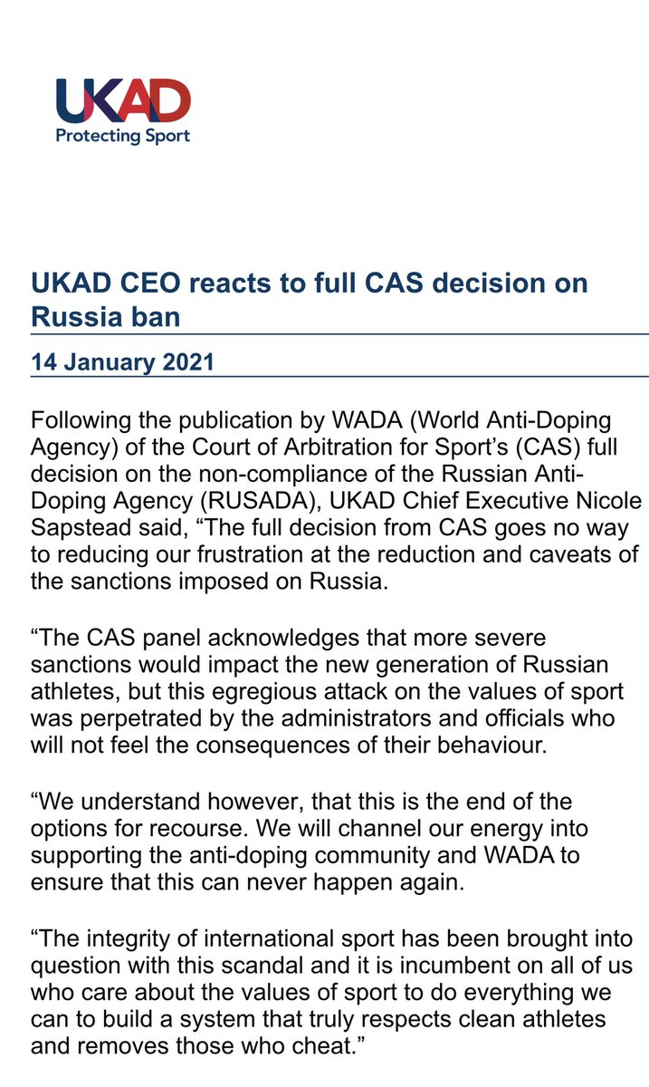 """United Kingdom's antidoping agency furious after reading full CAS award that let Russia hook for its industrial cheating and cover up scheme. """"The full decision ... goes no way to reducing our frustration at the reduction and caveats of the sanctions imposed on Russia."""" https://t.co/TkAMB3PDN8"""