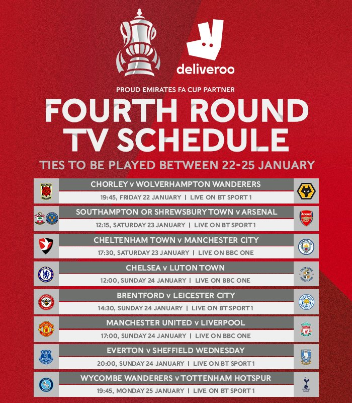 All 1️⃣6️⃣ games are LIVE 🤩  Here's your #EmiratesFACup fourth round TV schedule, brought to you by @deliveroo!