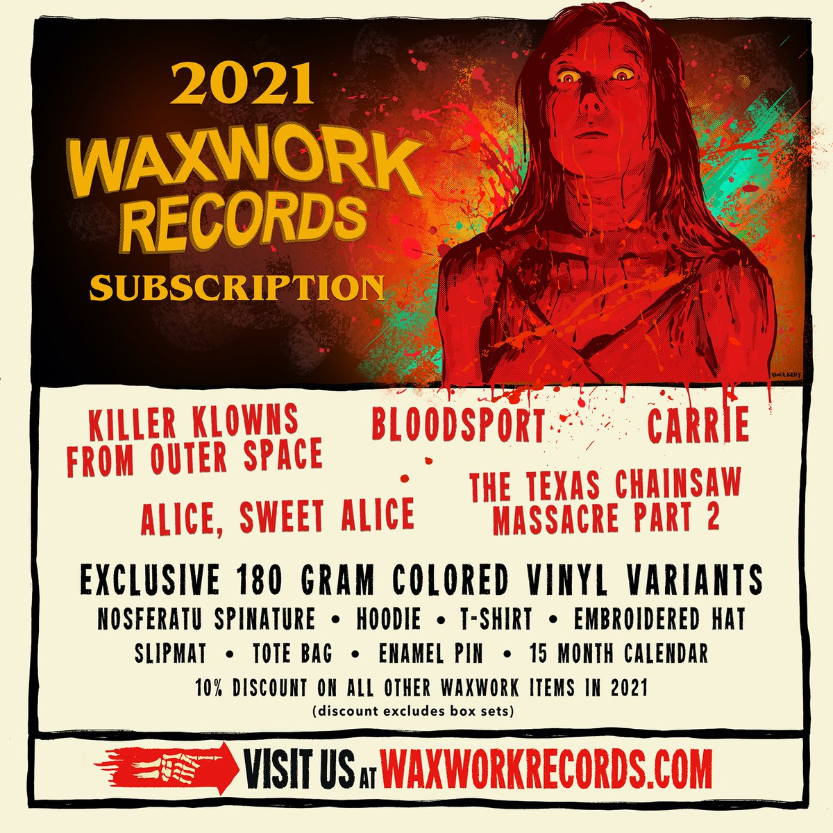 The window to join the 2021 Waxwork Records Subscription closes TOMORROW! Don't miss out on joining us for a year of exclusive colored vinyl, soundtracks, discounts, apparel, and much more!