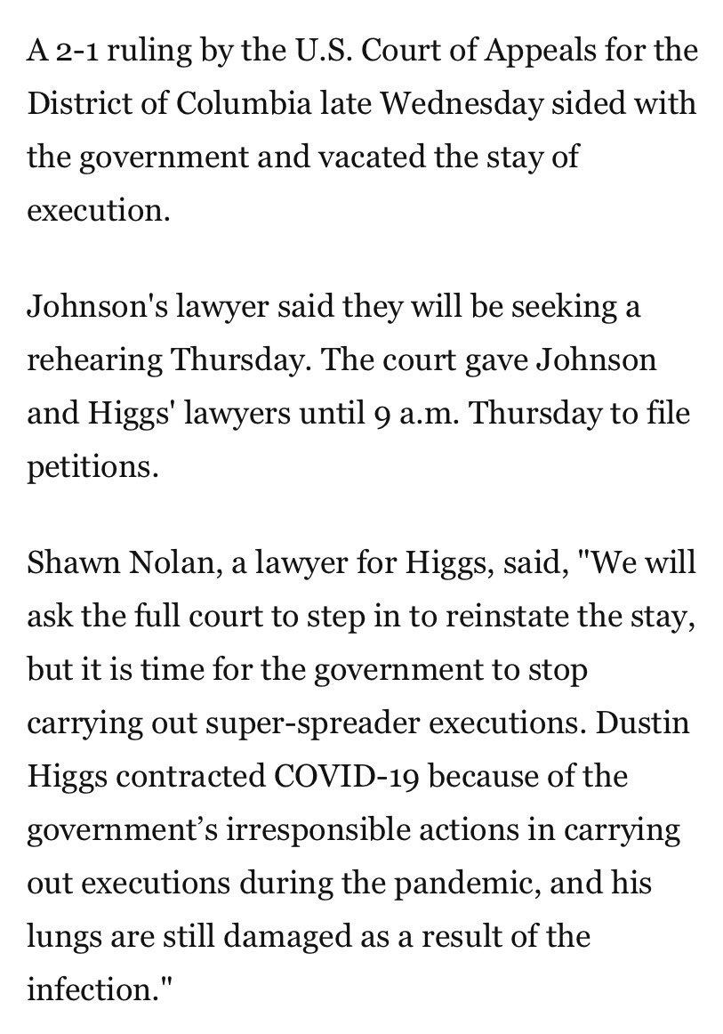 THIS IS URGET.   COREY JOHNSON AND DUSTIN HIGGS EXECUTION DATES WERE MOVED BACK TO THEIR ORIGINAL ONES, AND DUSTINS IS TOMORROW. TL, DONT BE SILENT ABOUT THIS. WE HAVE SO MUCH POWER. HERES A THREAD OF RESOURCES AND WAY YOU CAN HELP
