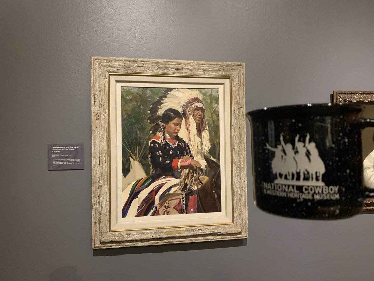 "Morning! Was exploring the galleries and came across ""Father and Daughter at the Crow Fair"" from 1978 by Bettina Steinke. Doesn't it look just like the ""Elk's Tooth"" dress from last night's post? Wow! #HashtagTheCowboy Thanks, Tim https://t.co/esnXgfo3TU"