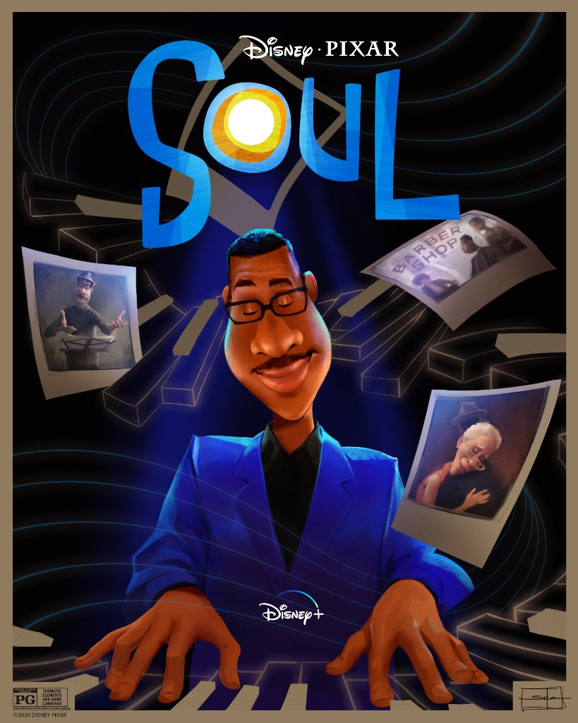 Check out this poster by artist Salena Barnes inspired by #PixarSoul. See the movie, now streaming on #DisneyPlus.