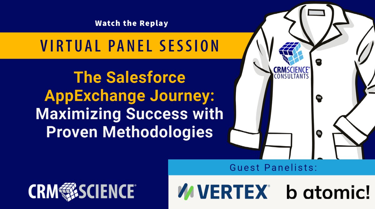 ⚡Watch the Replay⚡  The Salesforce #AppExchange Journey: Maximizing Success with Proven Methodologies with CRM Science and special guests from @vertexinc and @batomic  Full Video ➡️   #SFDC #PDO #DreamTX #Trailblazer #Trailhead #WIT #InsurTech #TaxTech