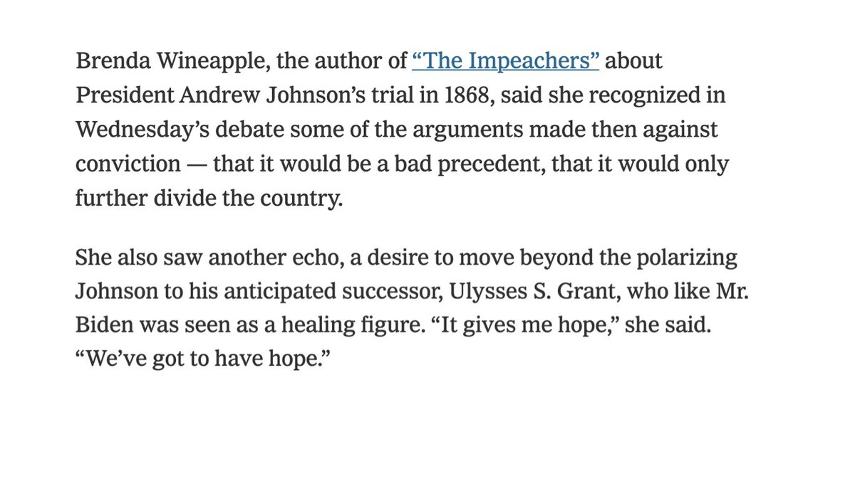 Author of The Impeachers and @TheNewSchool faculty member Brenda Wineapple quoted today in the @nytimes  📰    #ImpeachmentDay #news #history