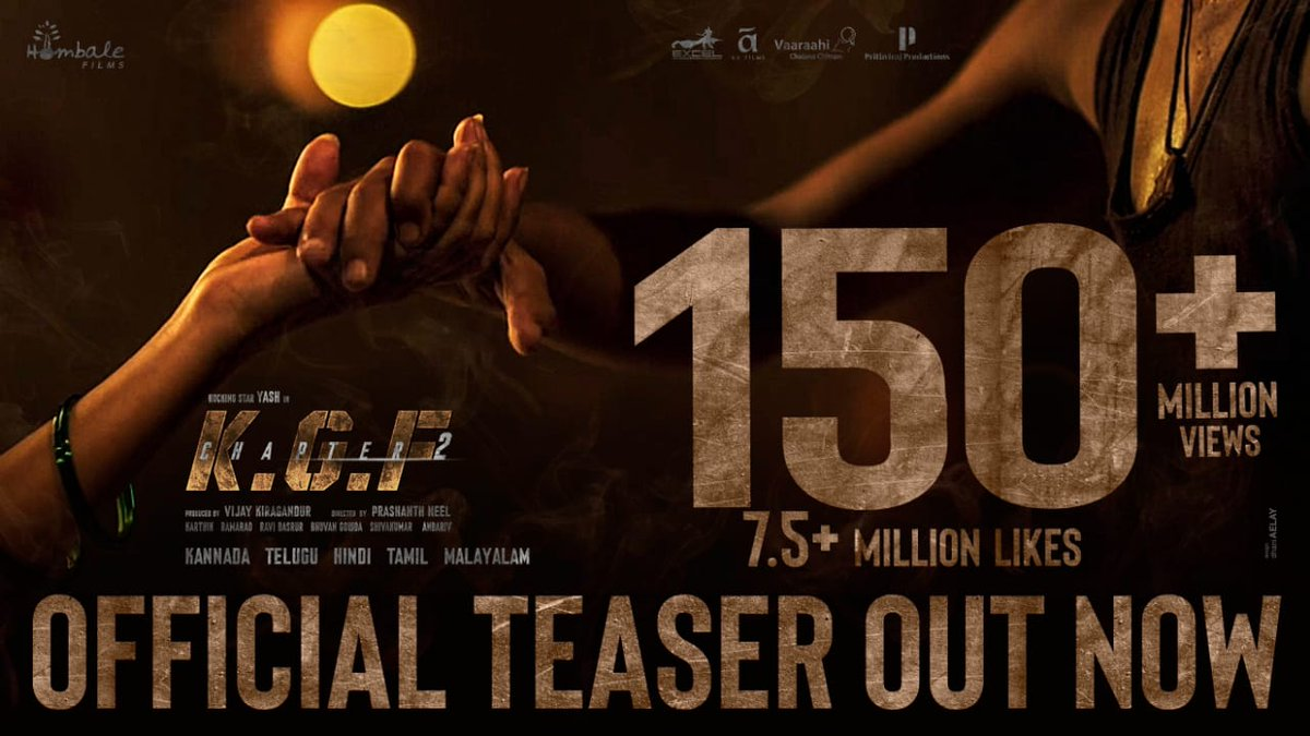 Recreating history, few millions at a time. 💥  #KGFChapter2Teaser:   @VKiragandur @TheNameIsYash @prashanth_neel @hombalefilms @duttsanjay @TandonRaveena @SrinidhiShetty7 @BasrurRavi @bhuvangowda84 @excelmovies @AAFilmsIndia @VaaraahiCC @PrithvirajProd