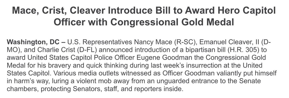 INBOX: Bipartisan group of House members pushes for Eugene Goodman, the black Capitol Police officer who faced down a mob of Trump supporters, to receive the Congressional gold medal. https://t.co/B1nfRfZv69