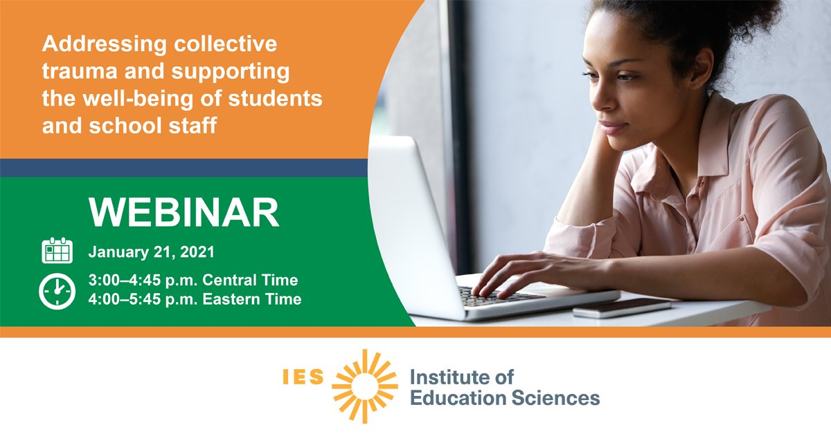 FREE webinar on January 21 at 3 pm CT with @RELsouthwest! They will talk on collective trauma and supporting the well-being of students and school staff.   #MentalWellnessMonth