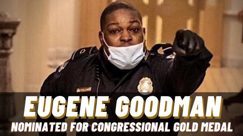 Capitol Officer Goodman is a hero in every sense of the word. RT if you think he deserves to be honored with a Congressional Gold Medal!