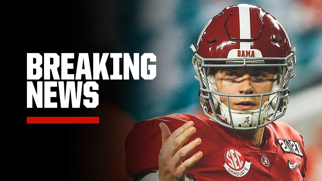 Replying to @SportsCenter: Breaking: Alabama QB Mac Jones has announced he's declaring for the NFL draft.
