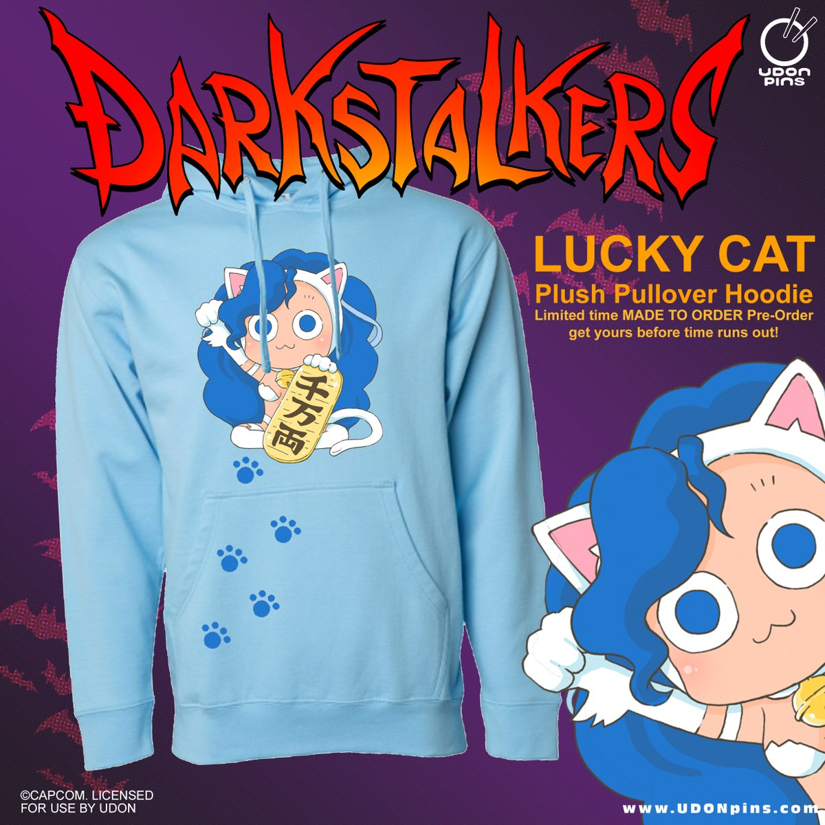 Our Lucky Felicia Hoodie pre-order ends 💙MONDAY💙! Sizes are selling fast, reserve yours today & add on the Lucky #Felicia pin to ensure you get the FREE #Darkstalkers Felicia Metal Card! Shop the UDON Store today!     💕Lucky Felicia art by @djmikan1💕