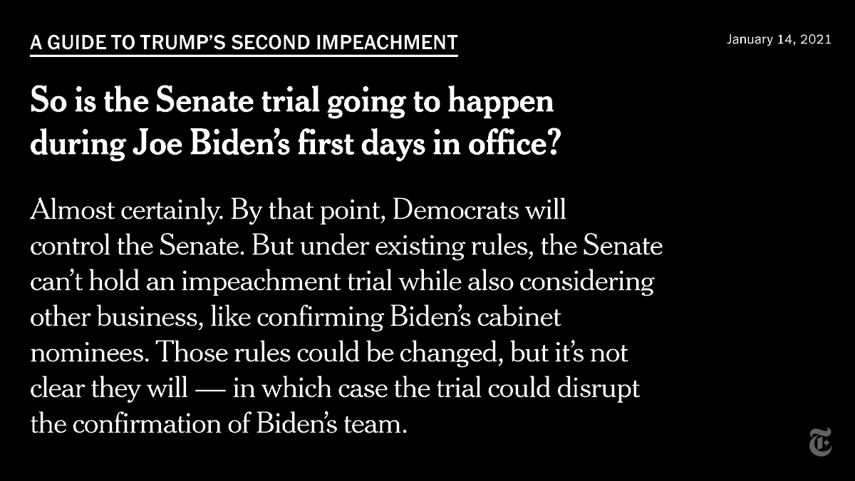 Trump's second impeachment is testing the bounds of the process. nyti.ms/35GeptW