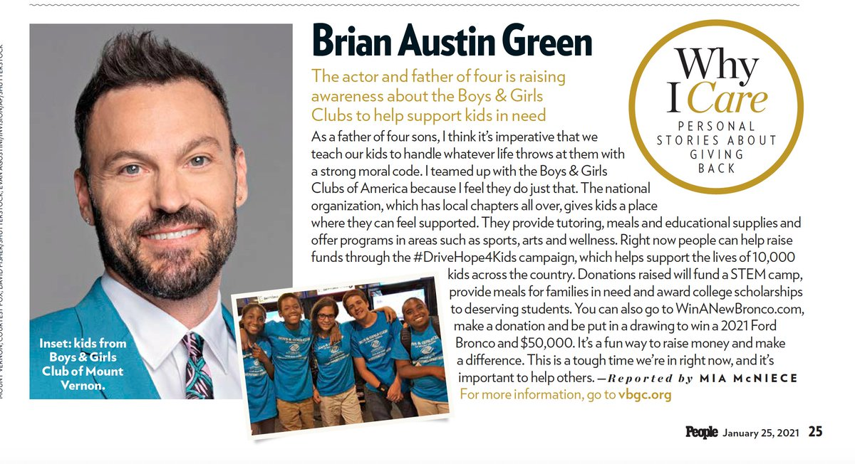 Check out @withBAGpod in @people supporting our #DriveHope4Kids campaign.  There is still time to be a hero for tens of thousands of kids at Boys & Girls Clubs across the country. Donate at  for the chance to win $50,000 and a 2021 @Galpinford Bronco.