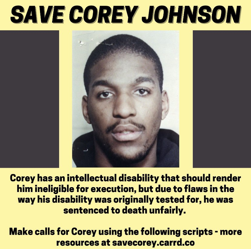#CoreyJohnson is set to be executed TODAY despite his intellectual disability. pls spread this awareness. #SaveCoreyJohnson #BLM