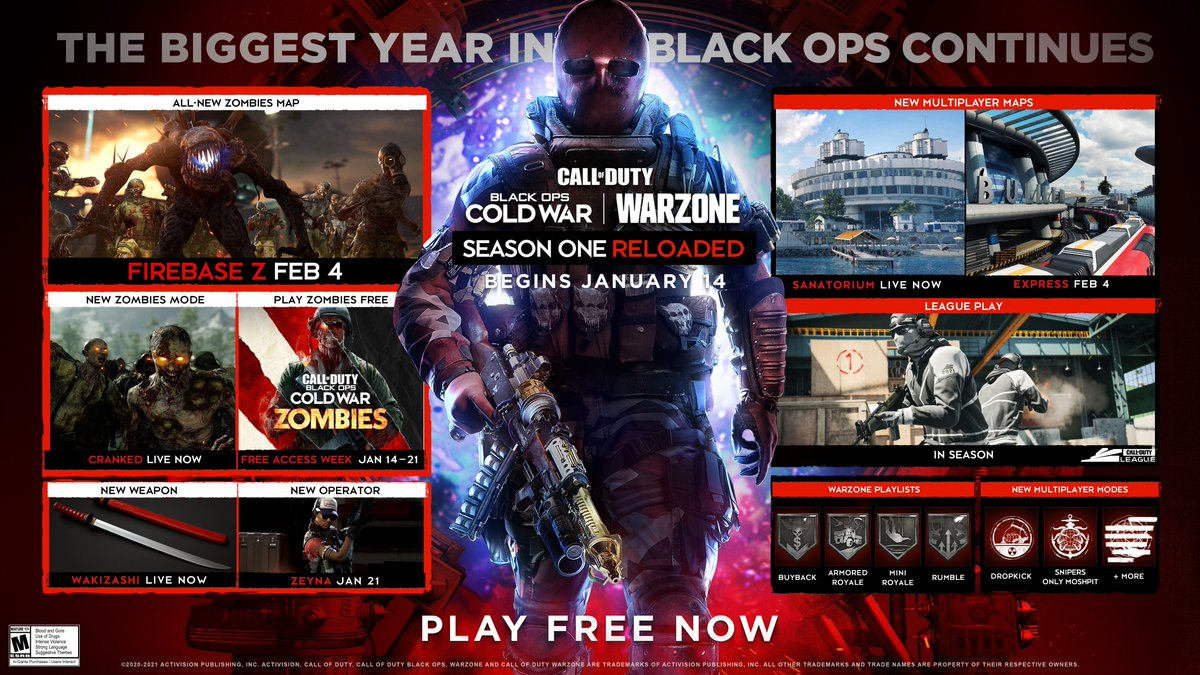 Welcome to #BlackOpsColdWar Season One: Reloaded.  The biggest year in Black Ops continues with new maps, modes, weaponry, and more.