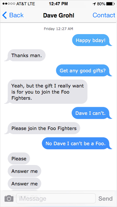 Tried to wish Dave Grohl a happy birthday and it went off the rails