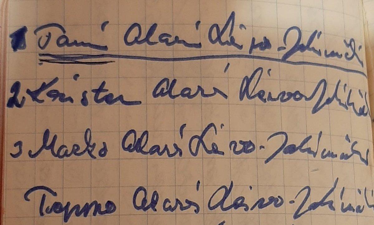 Äitini säästää kaiken. Isäni muistiinpanot kesältä -73. Näin oletan. Siinä nimivaihtoehtoni. #tomi #krister #marko #teppo