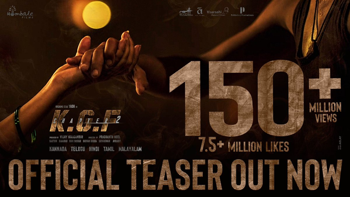 Recreating history, few millions at a time💥 #Grateful #Thankyou 🙏🏻  #KGFChapter2Teaser   @VKiragandur @TheNameIsYash @prashanth_neel @hombalefilms @duttsanjay @TandonRaveena @BasrurRavi @bhuvangowda84 @excelmovies @AAFilmsIndia @VaaraahiCC @PrithvirajProd