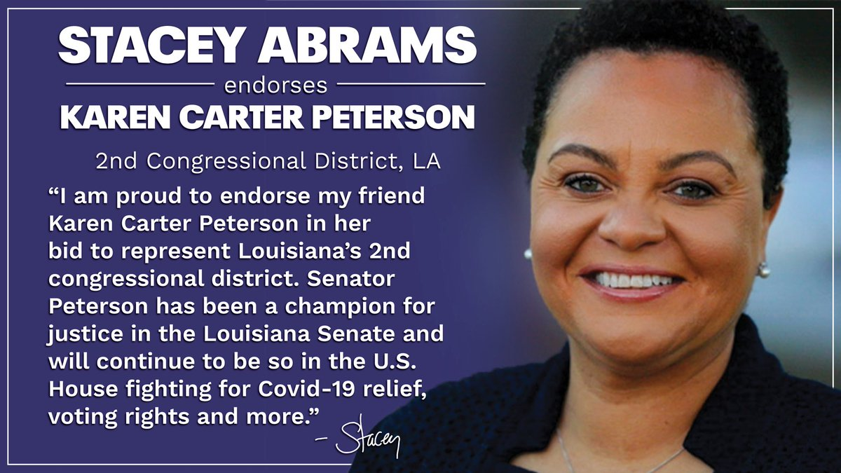 I am proud to endorse my friend Karen Carter Peterson to represent Louisiana's 2nd congressional district. In Congress, @TeamKCP will serve as a champion for justice, Covid relief, voting rights and more. #lapol