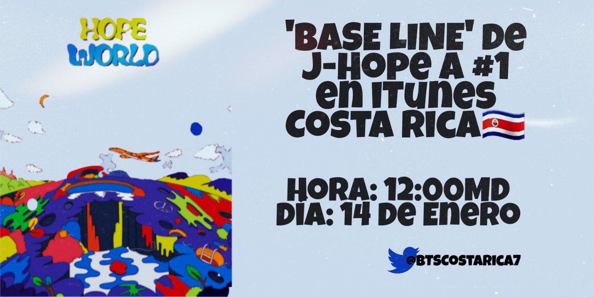 ¡DAMOS INICIO CON LA COMPRA DE HOY!🙌🏻  'Base Line' de #JHOPE a #1 en iTunes Costa Rica.  ¿Están listxs CR-ARMY? Si necesitan fondos contacten a @FundsforJhope.  @BTS_twt #HopeWorldTo3Years