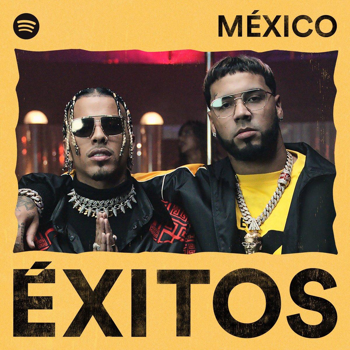 ¡Todo un éxito @rauwalejandro 🦊 y @Anuel_2bleA 👹 con Reloj! En portada en la playlist Éxitos México en @SpotifyMexico 🔥